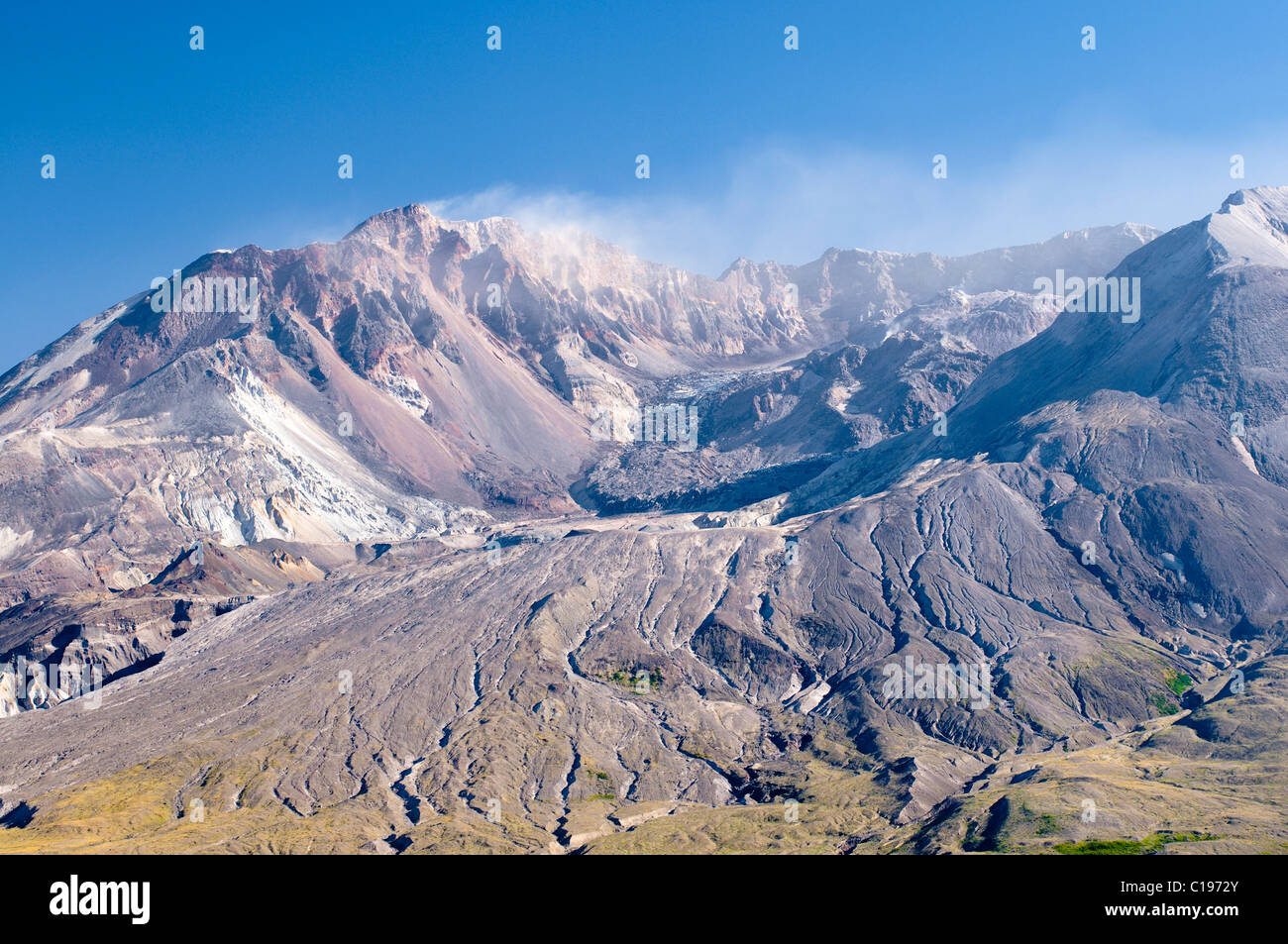 Smoking crater of the active volcano Mount St. Helens, National Volcanic Monument State Park, Washington, USA, North Stock Photo