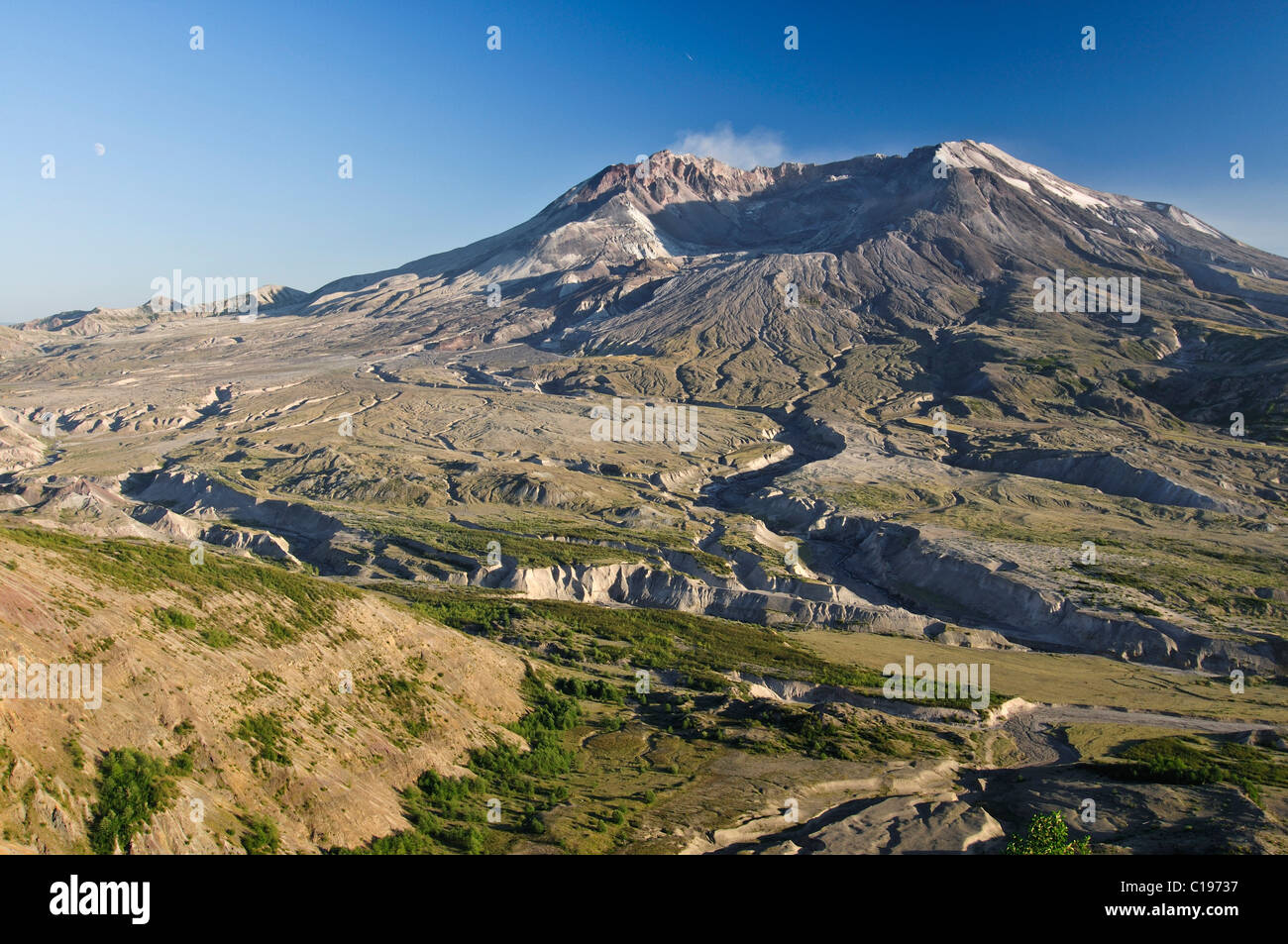 Active volcano Mount St. Helens smoking, National Volcanic Monument State Park, Washington, USA, North America - Stock Image