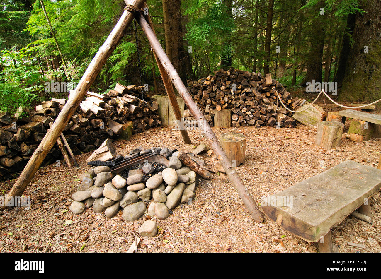 Bonfire at Fort Clatsop by Lewis and Clark Interpretive Center, Cape Disappointment, Lewis and Clark National Historical - Stock Image