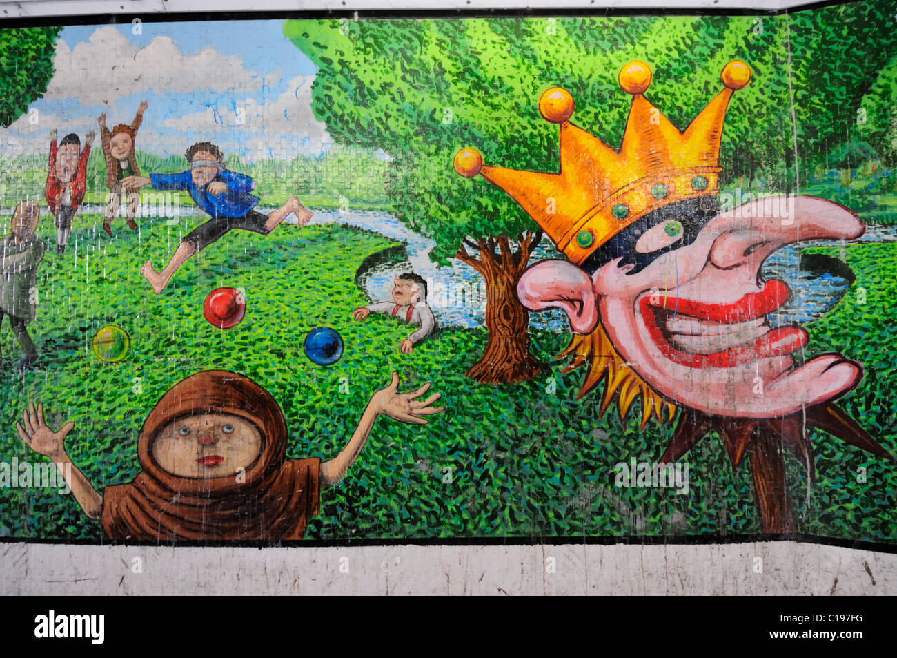 Street Art depicting the large trade fair held on Stourbridge  Common in Medieval Times, Cambridge, England, UK - Stock Image