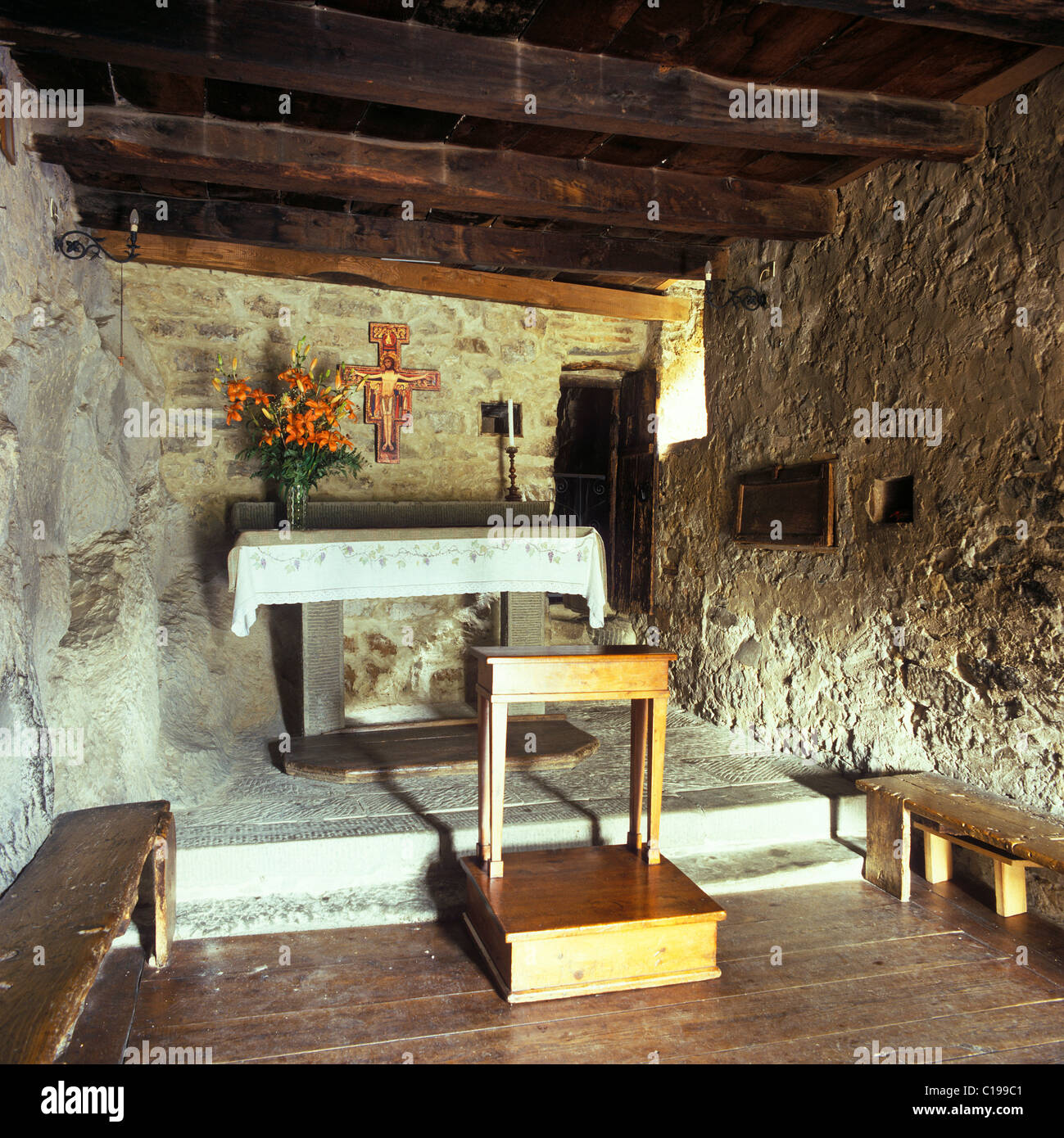 Cell of St Francis, his last resting place before his death, at the Convento delle Celle, a monastery of the order - Stock Image