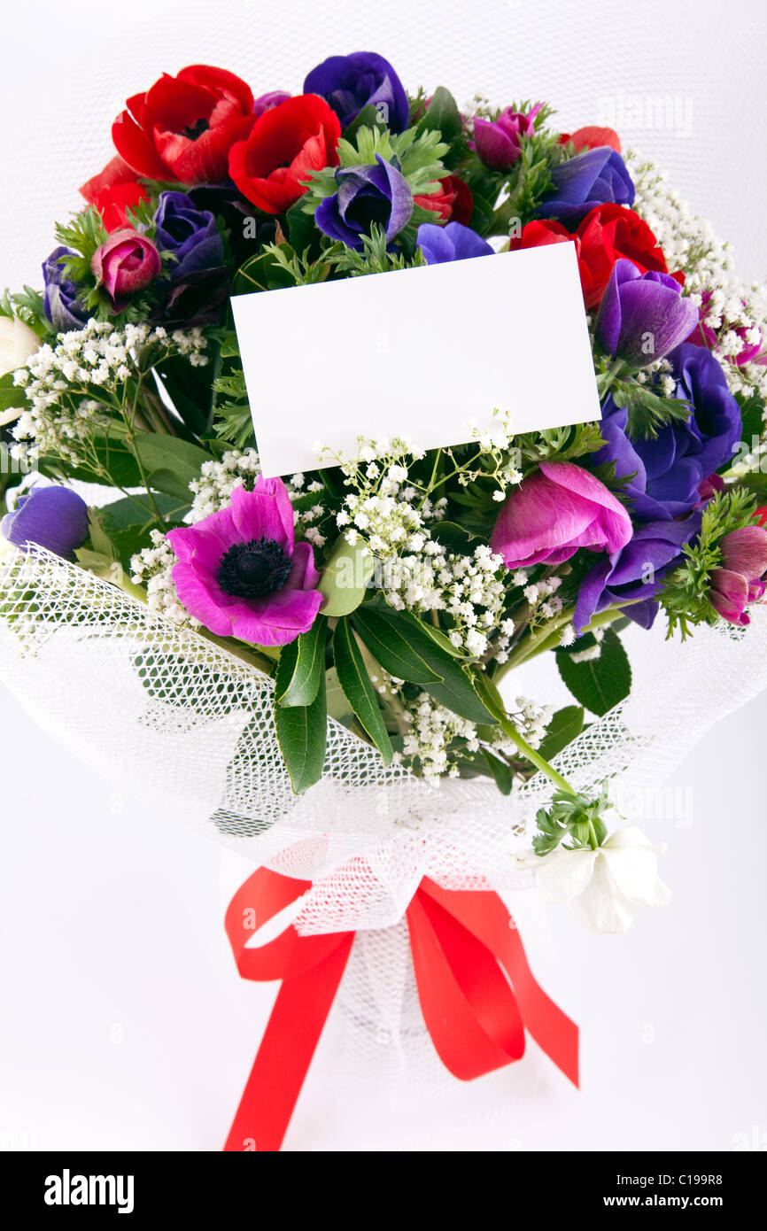 Beautiful bouquet of flowers with blank white card to put your Stock ...