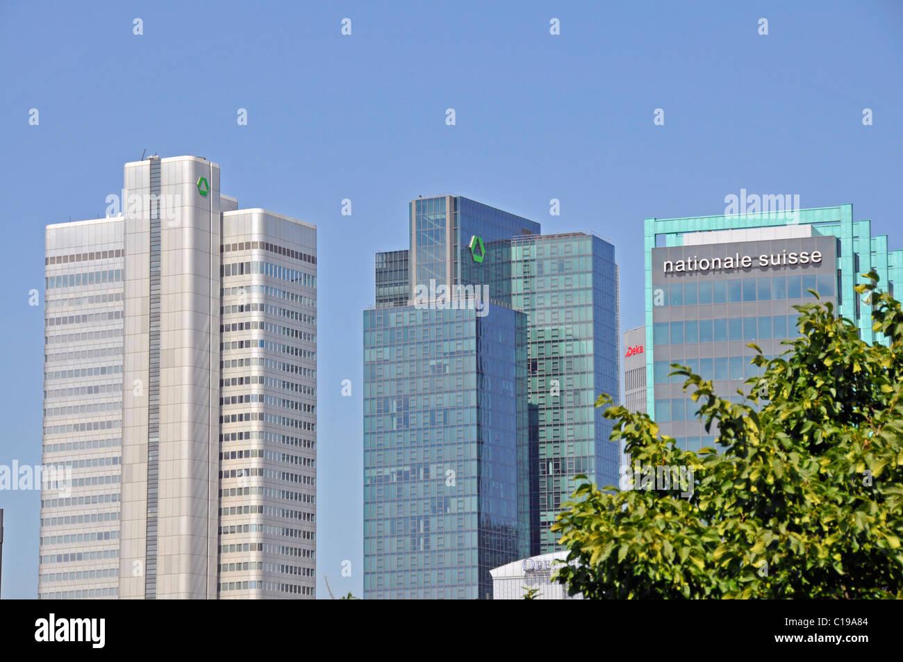 High-rise buildings, Dresdner Bank Zentrale, Trianon and Schweizer-National Versicherungs-AG, Frankfurt, Hesse, - Stock Image