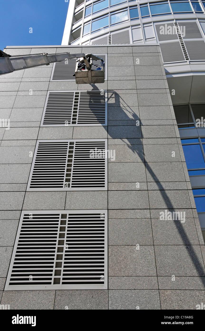Repair work, DZ Bank AG, Deutsche Zentral-Genossenschaftsbank, German Central Co-operative Bank in the Westendtower Stock Photo