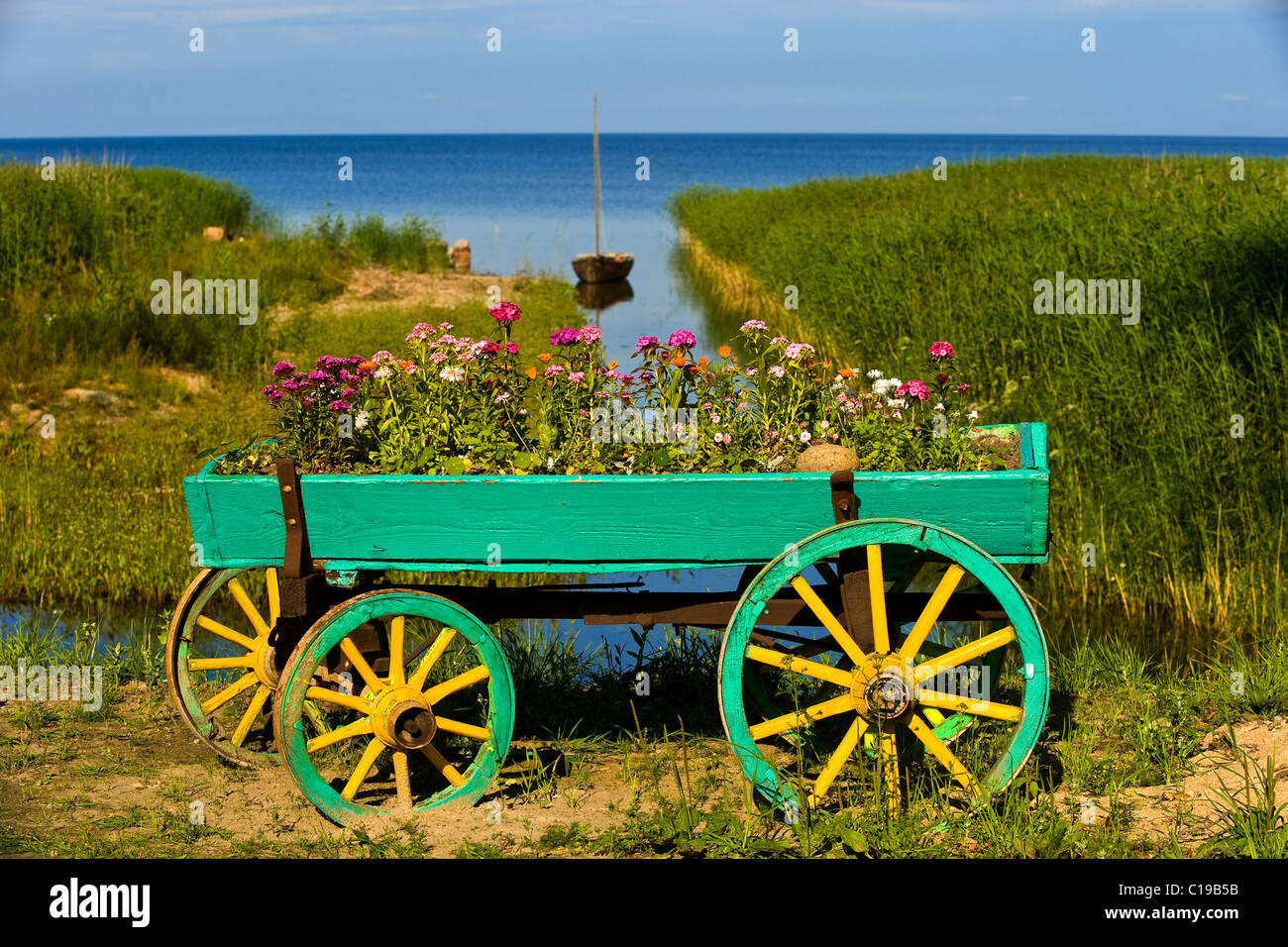 Flower cart in front of Lake Peipsi, Kasepee, Peipsu jaerv, Estonia, Baltic States, Europe - Stock Image