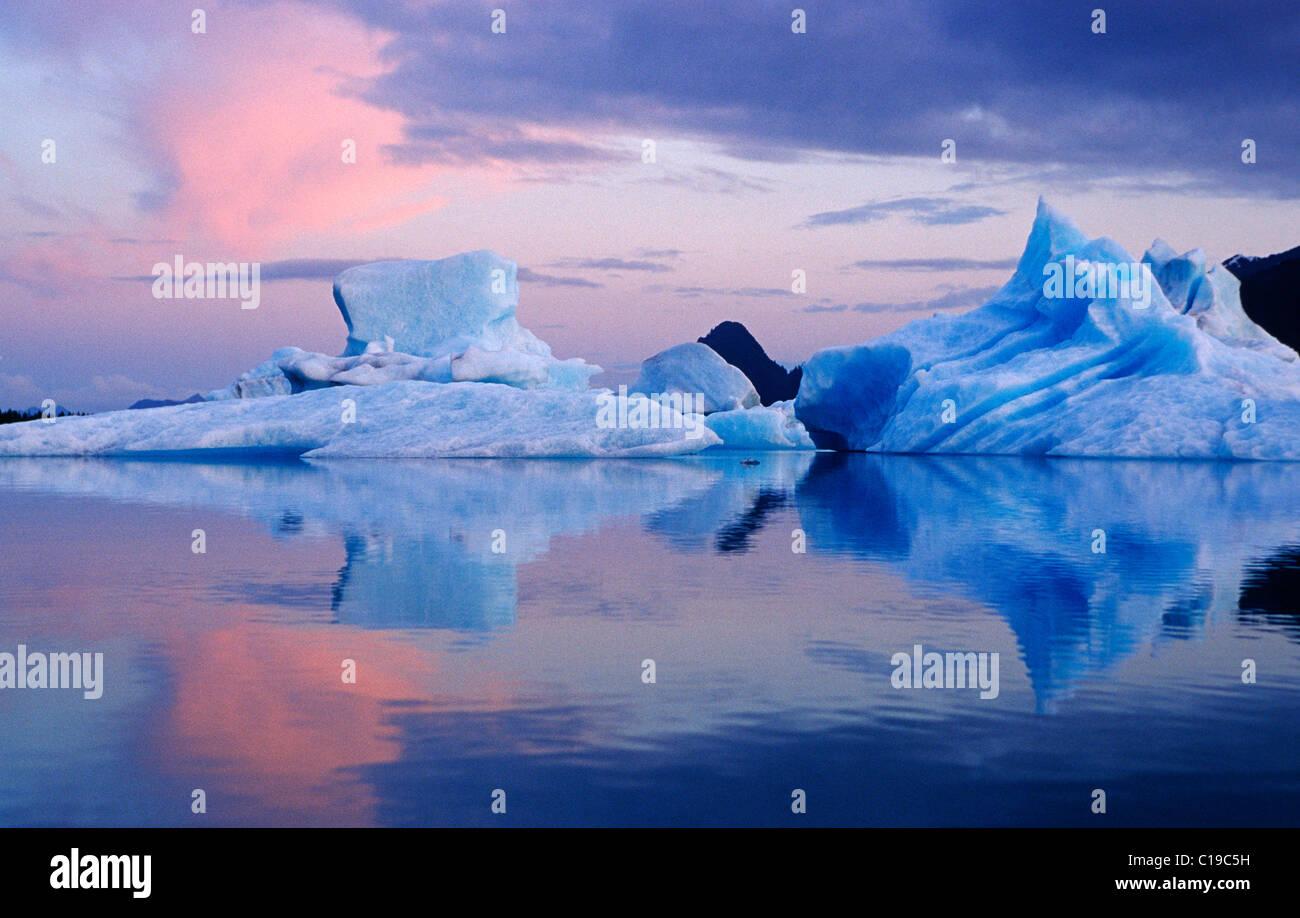 Icebergs in Prince William Sound, Alaska, USA - Stock Image