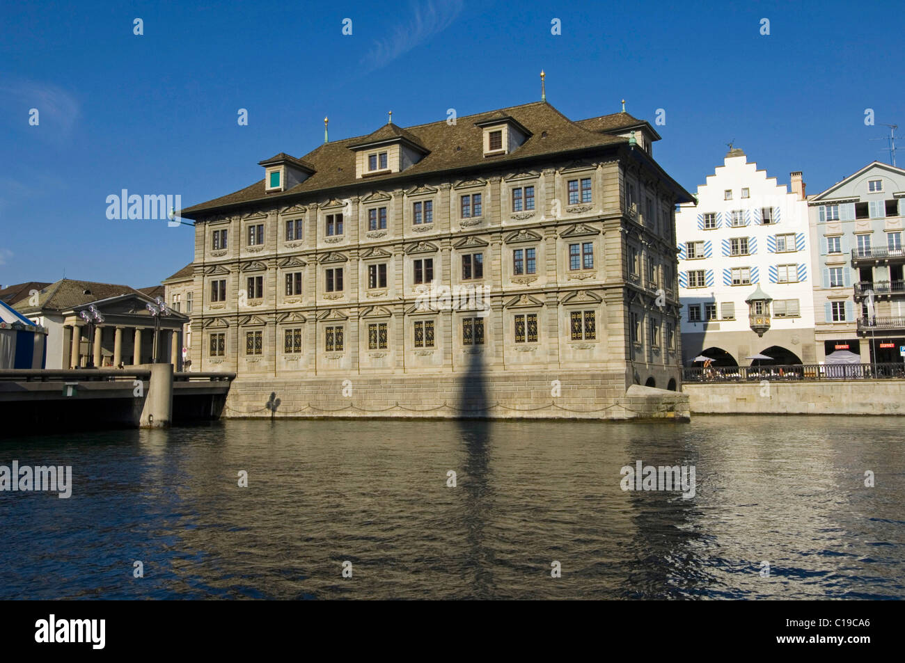 Zurich City Hall behind the Limmat River, Switzerland, Europe - Stock Image
