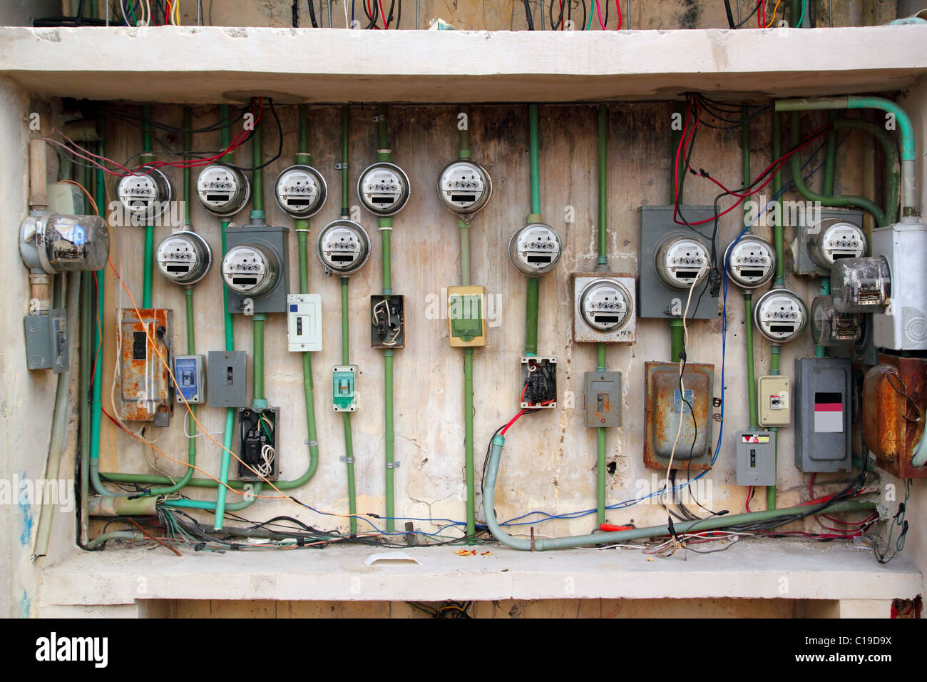 Dangerous Electrical Wiring Stock Photos A Outside Plug Electric Meter Messy Faulty Installation Image