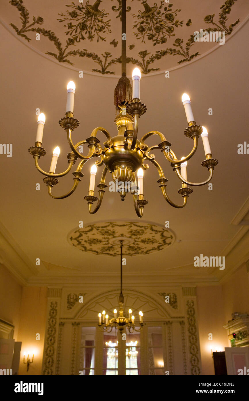 An ornamental light in the drawing room of a private members club in London. - Stock Image