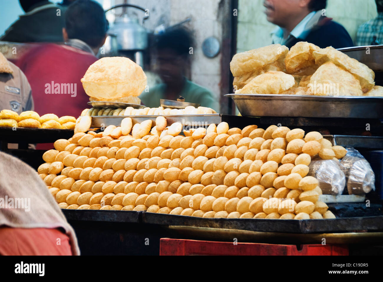 Snacks at a food stall, Haridwar, Uttarakhand, India - Stock Image