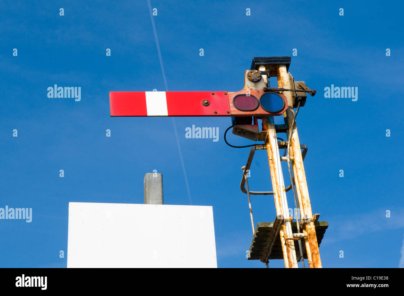 A Railway Semaphore Signal in the Stop or Danger Position Stock Photo