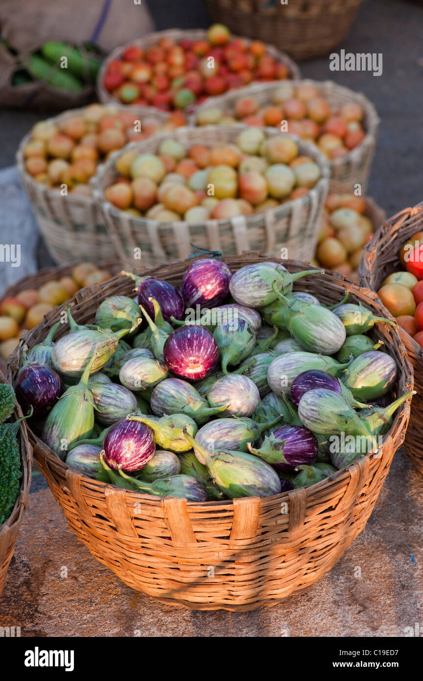 Aubergines / Eggplant , Tomatoes in baskets at an Indian market. Andhra Pradesh, India - Stock Image