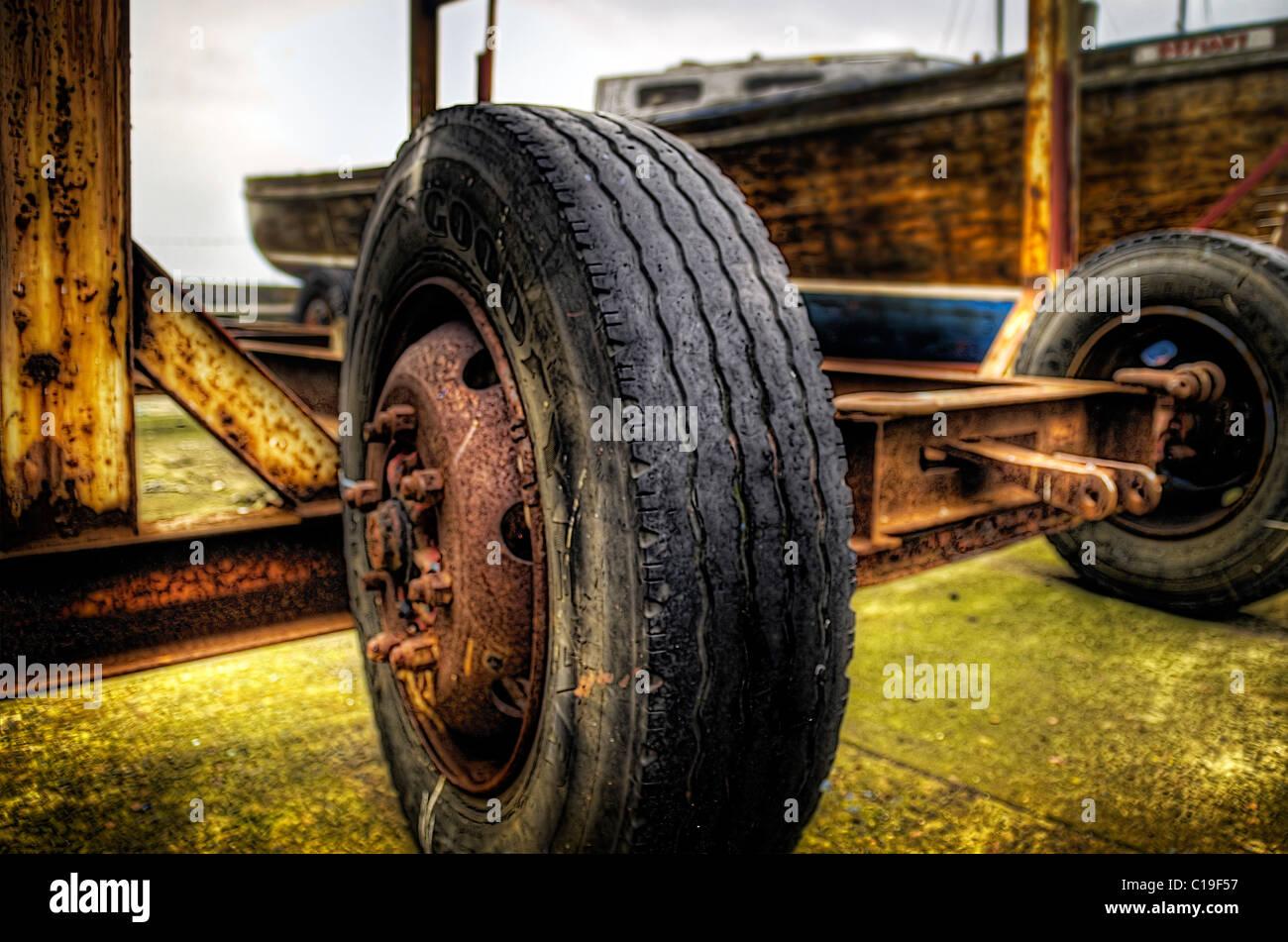 Old Trailer wheel rendered in high dynamic range format - HDR. - Stock Image