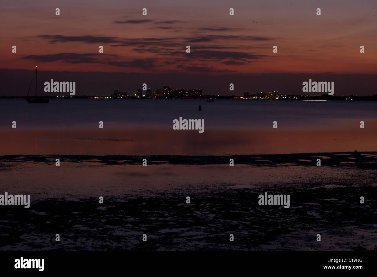 Key Biscayne at twilight, Florida, USA. - Stock Image