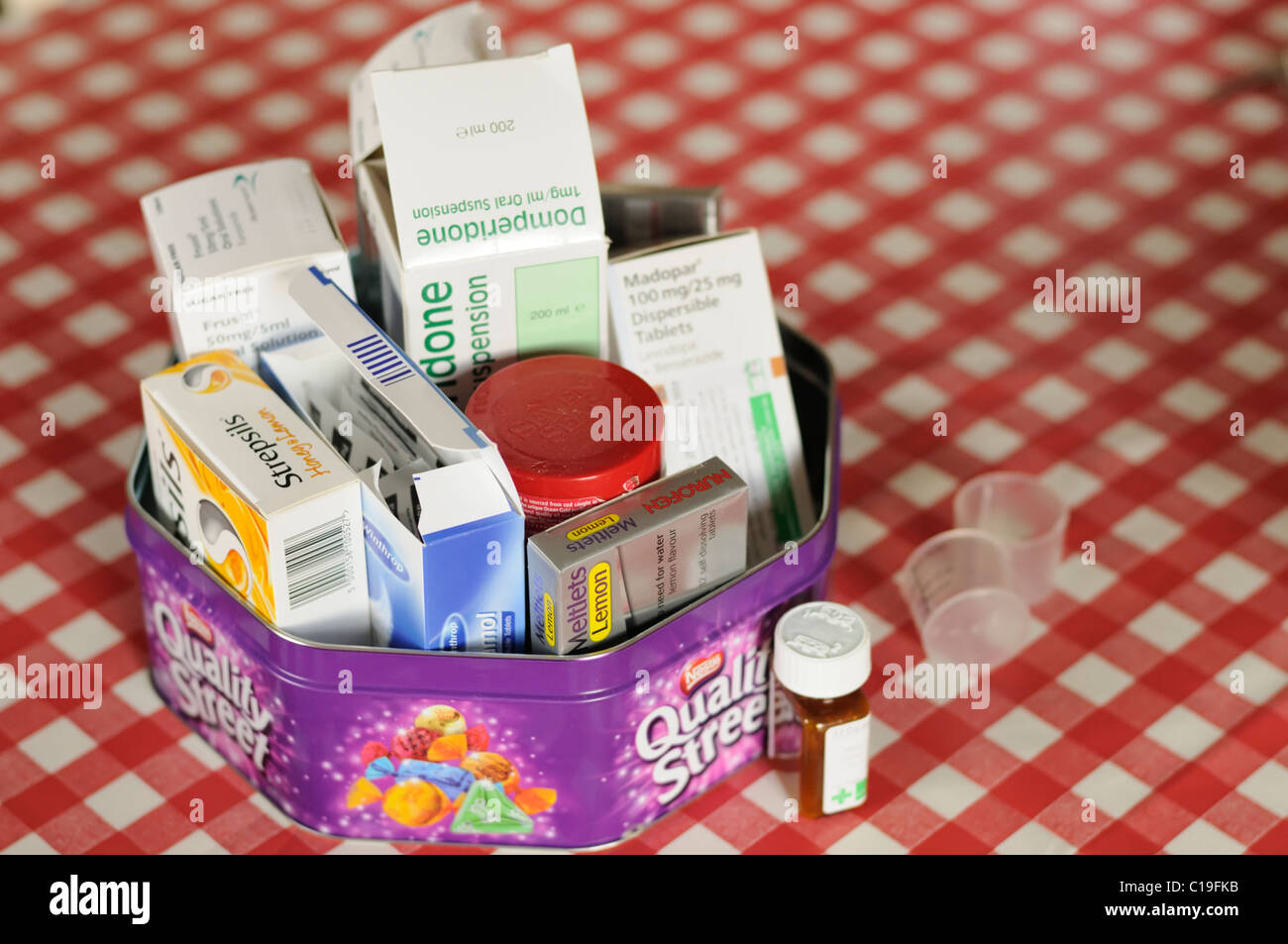 Elderly Persons Medication In Tin Stock Photos Elderly Persons