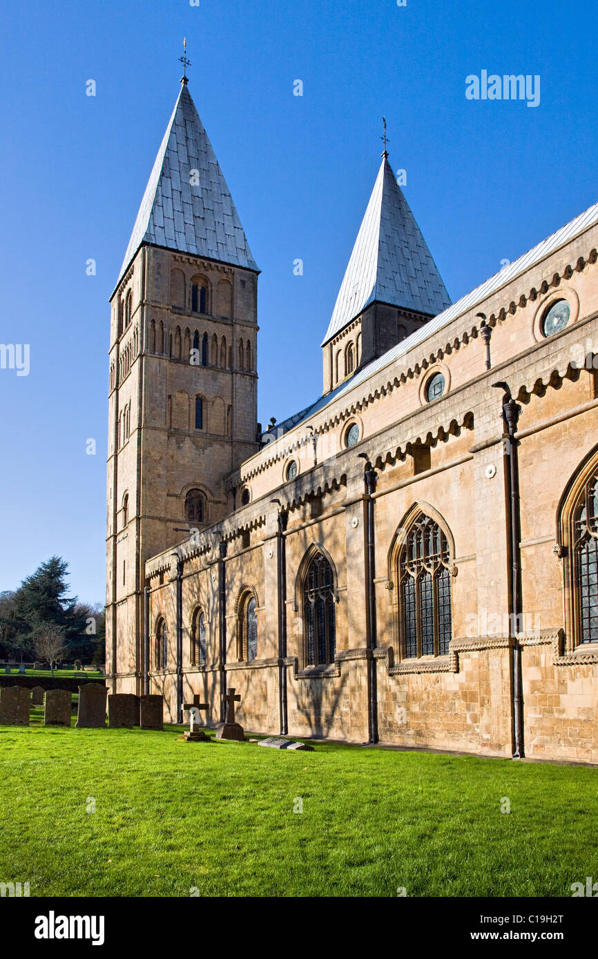 Southwell Minster in Nottinghamshire with its unusual pepper pot Romanesque towers unique in Britain - Stock Image