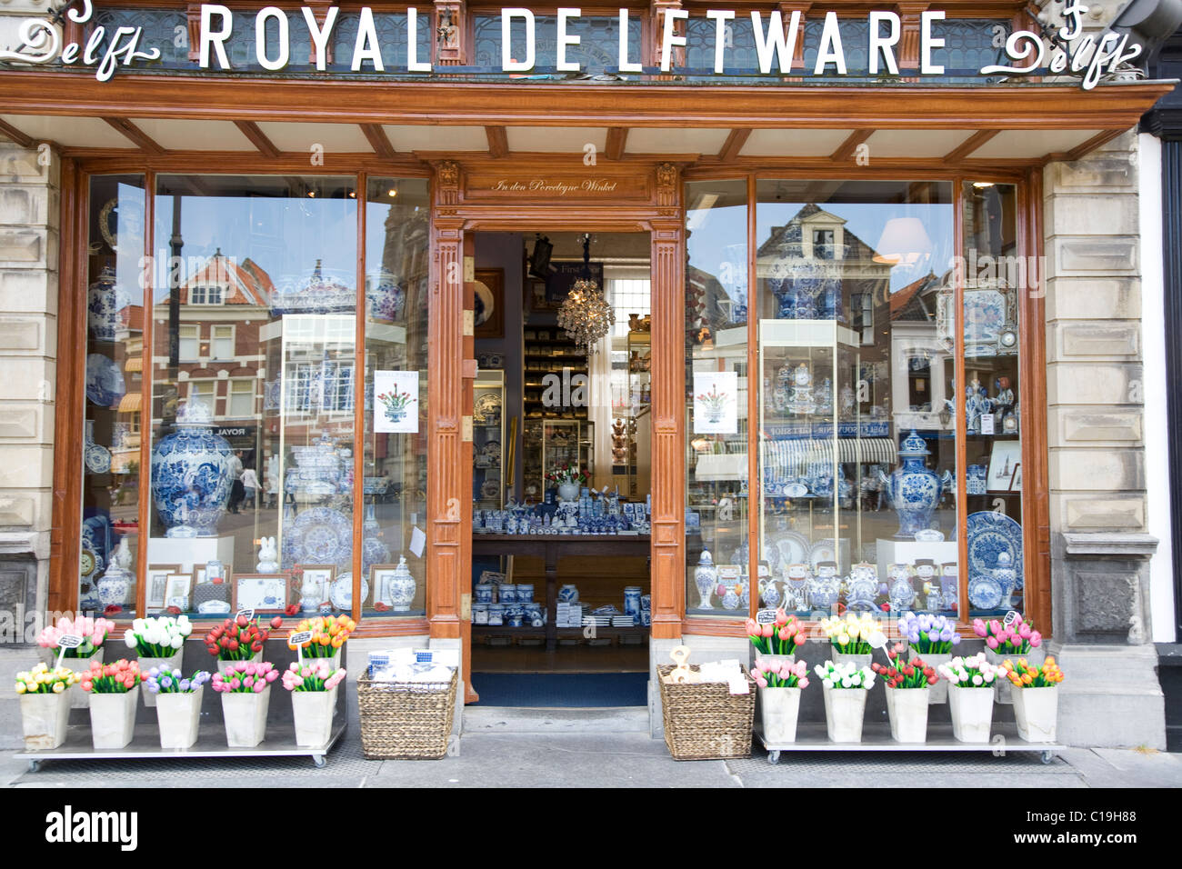 Royal Delftware pottery shop front in Delft, Netherlands. - Stock Image