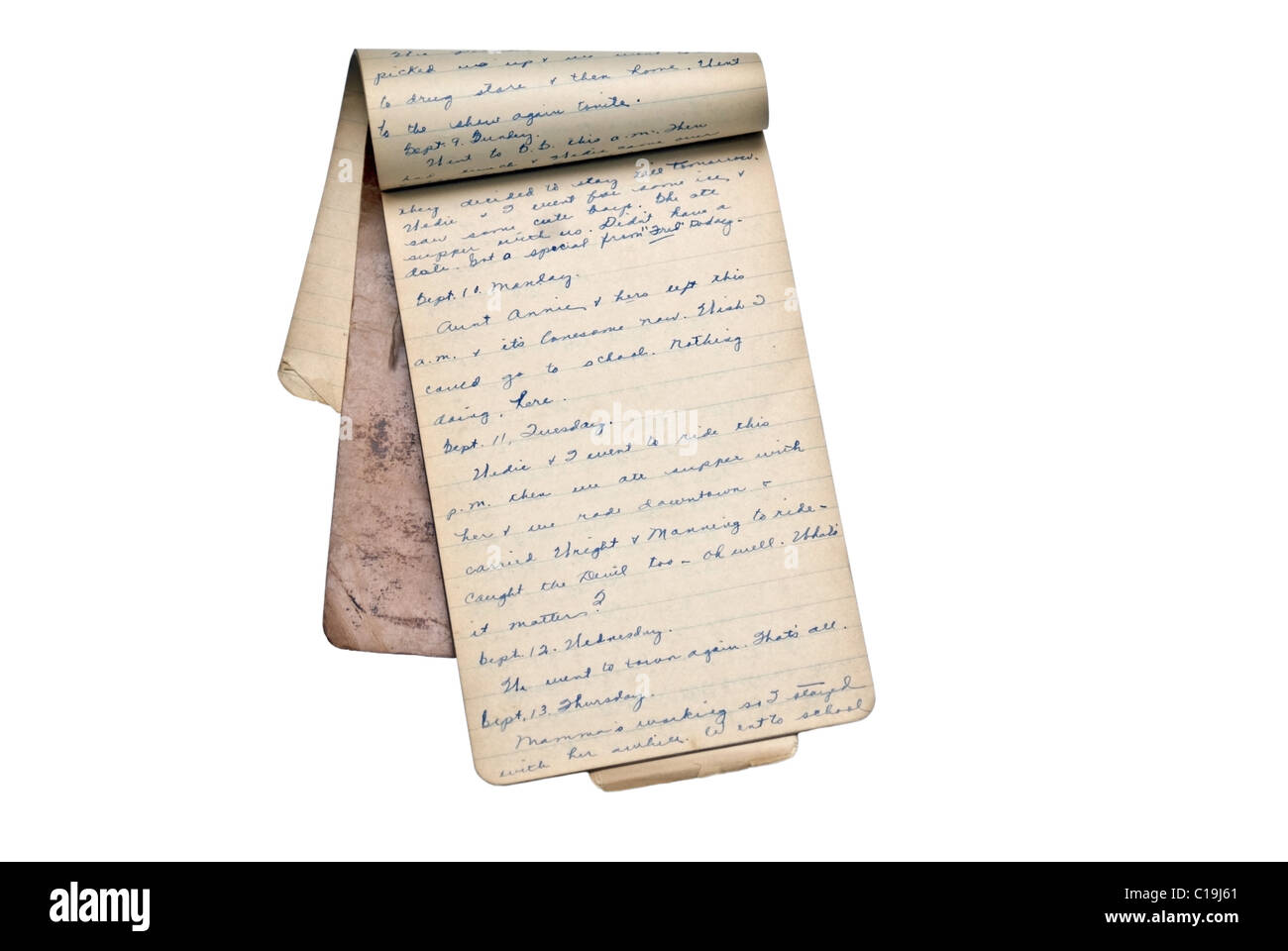 An old notepad used as a diary for a girl in college in1928. - Stock Image