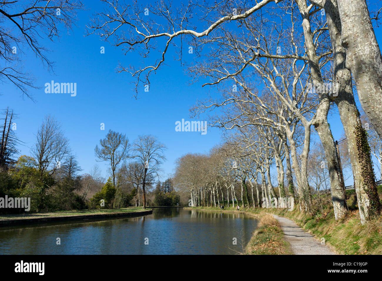 The Canal du Midi in winter near Castelnaudary, Languedoc, France - Stock Image