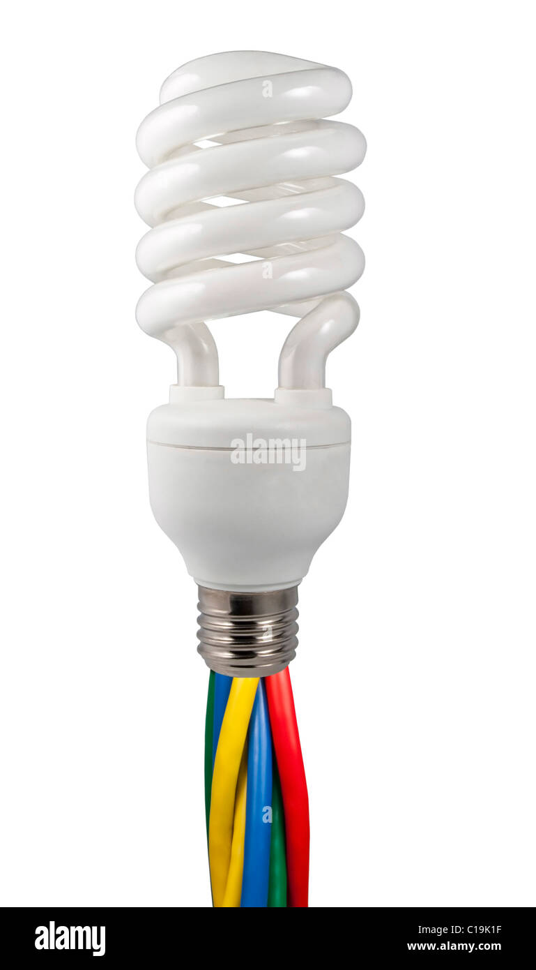 Colored cables attached to a fluorescent light bulb isolated on white background - Stock Image