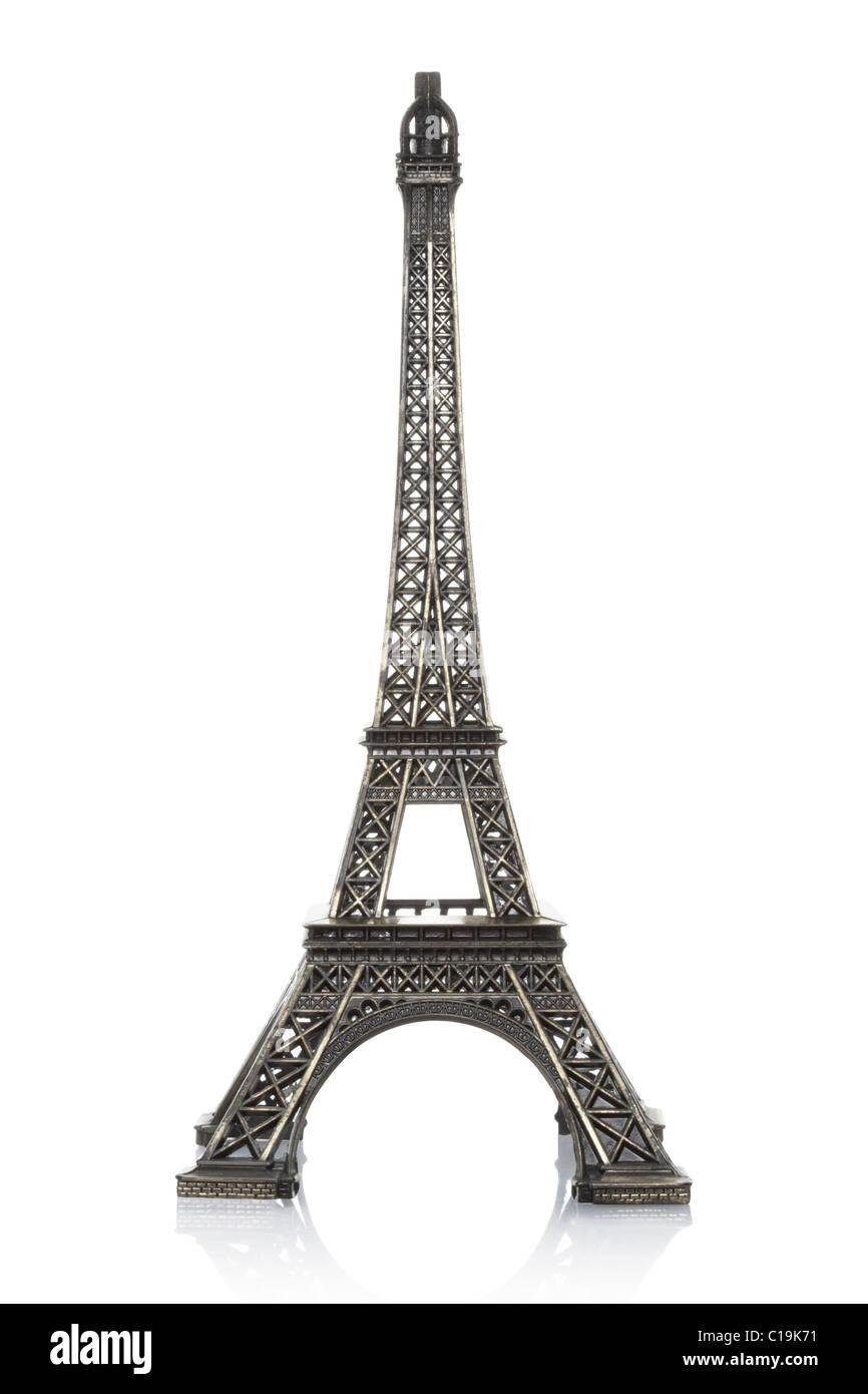 Eiffel tower model isolated on white background - Stock Image