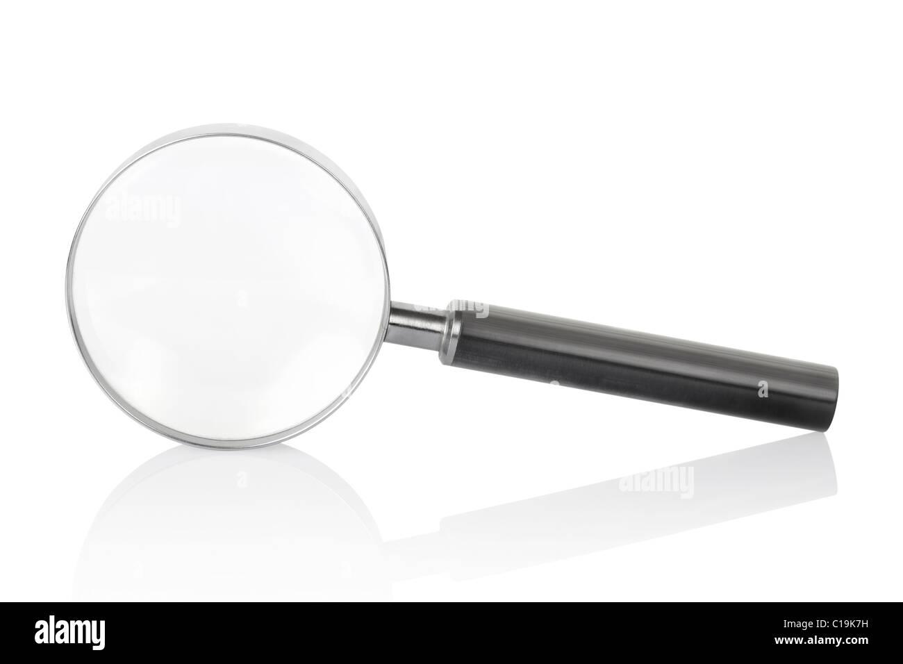 Magnifying glass isolated on white background - Stock Image