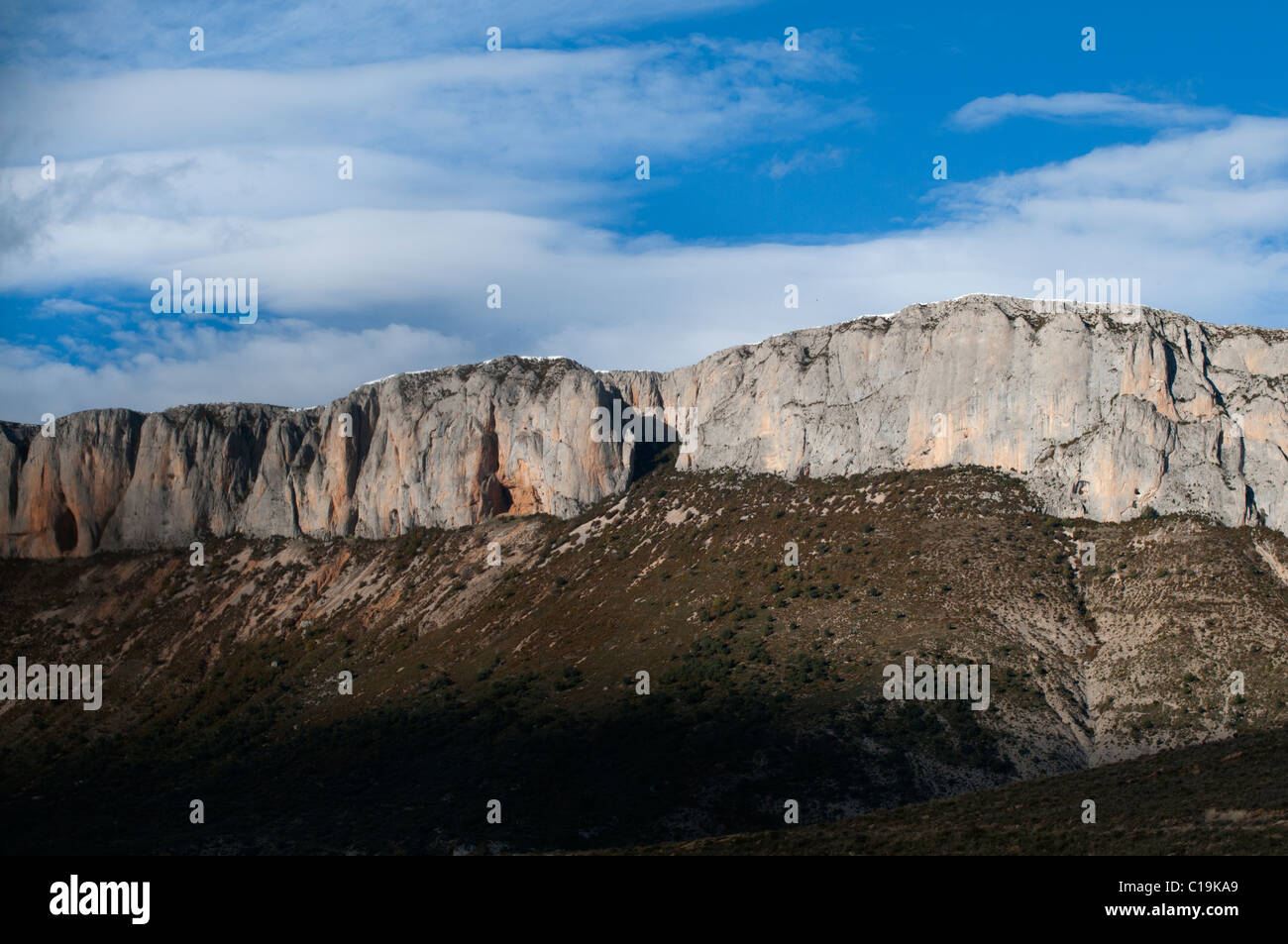 Cliff near Trem in Catalonian Pyrenees Spain - Stock Image