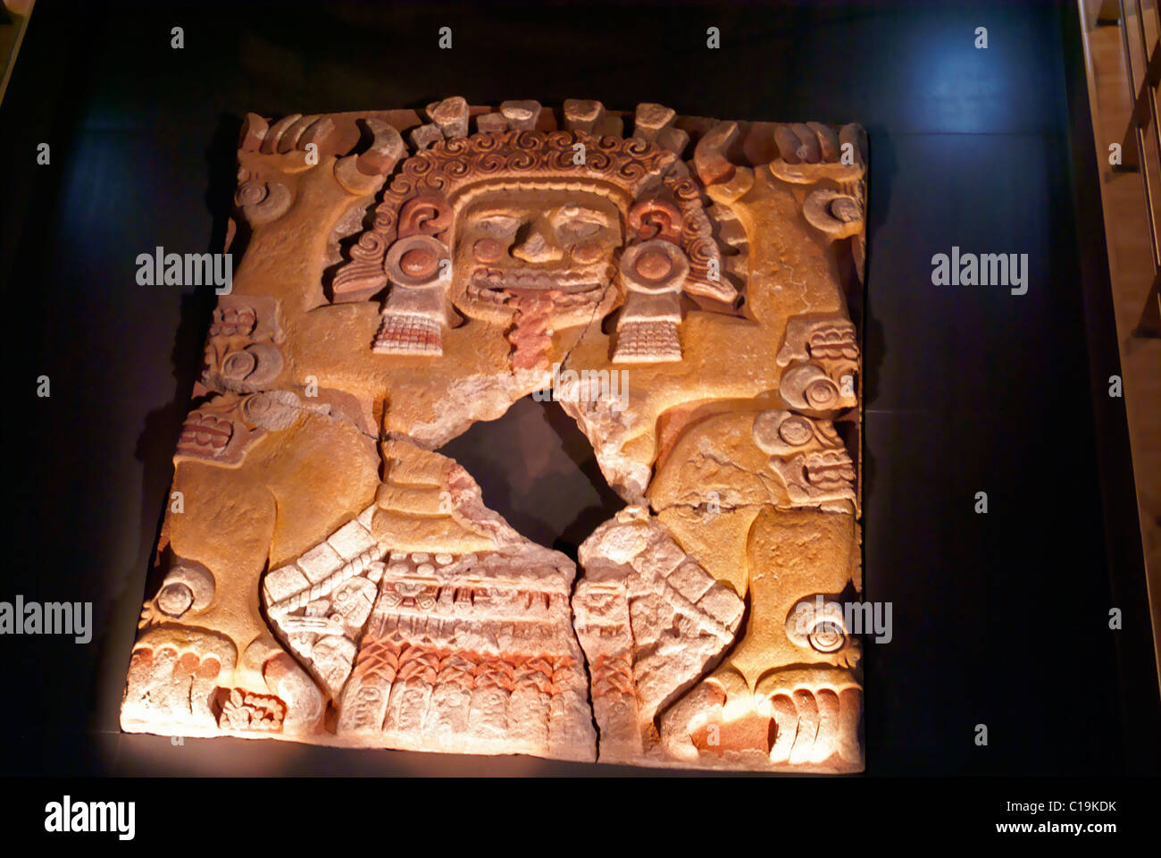 The Tlaltecuhtli sculpture in the Templo Mayor Museum, Mexico City - Stock Image