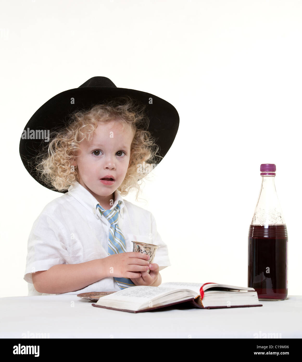 Cute little toddler boy acting hannukah - Stock Image