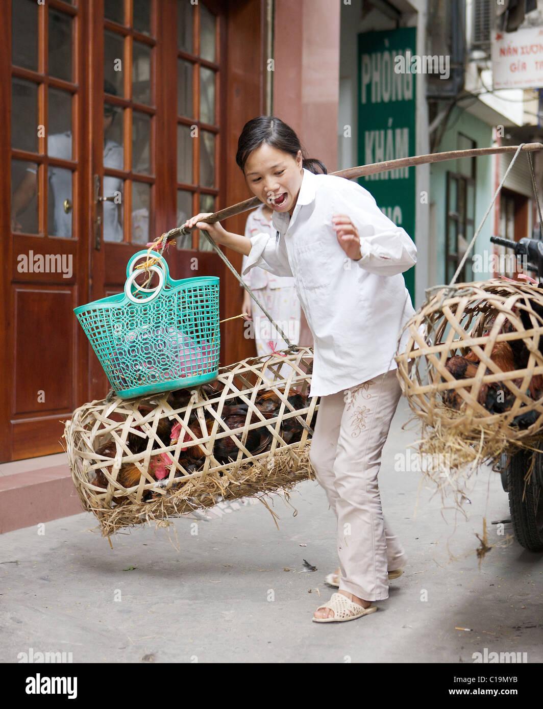 Hanoi yoke carrier with chickens, Hanoi, Vietnam - Stock Image
