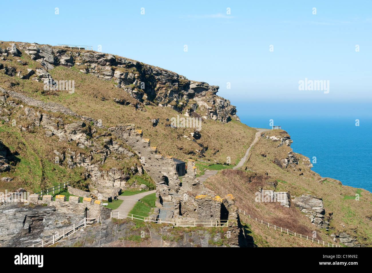 Part of the remains Of King Arthurs castle at Tintagel in North Cornwall, Uk - Stock Image
