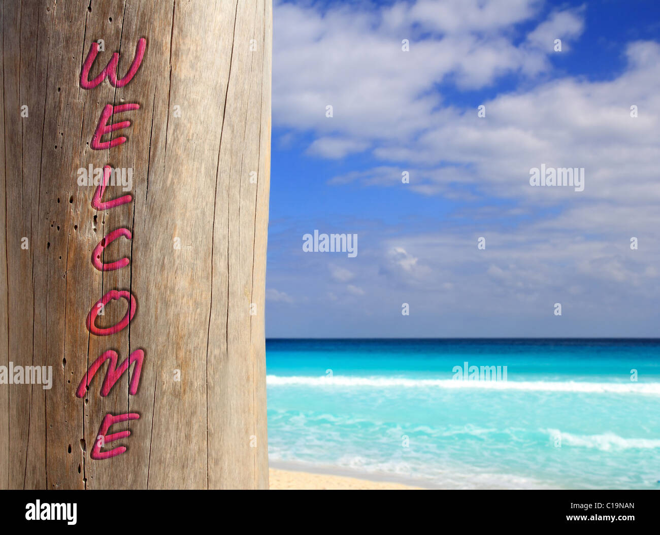 Caribbean tropical beach spell welcome written in wood trunk - Stock Image