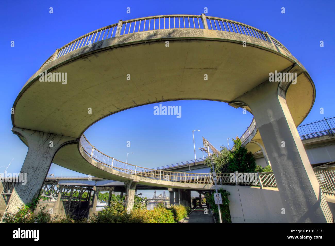 Spiral Walkway To Eastbank Esplanade From Morrison Bridge
