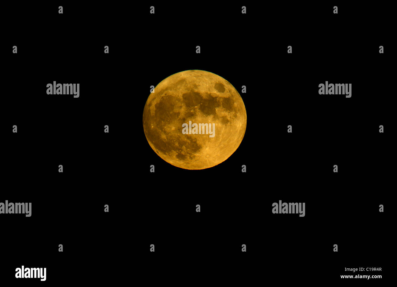 Full Moon viewed from Kelling Heath Norfolk summer - Stock Image