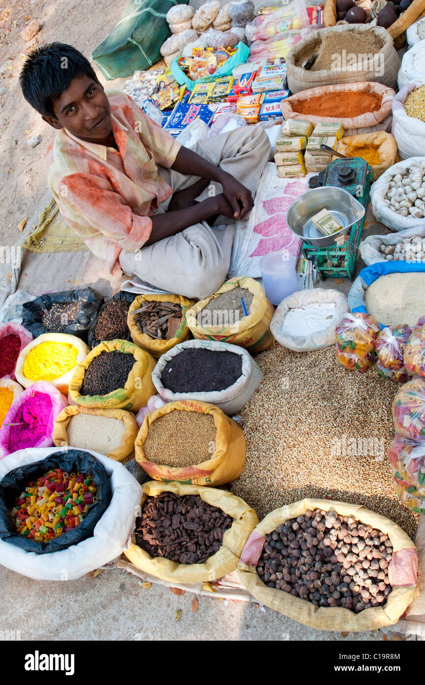 Indian street market with sacks of Indian spices and dried produce and coloured powder. Andhra Pradesh, India - Stock Image