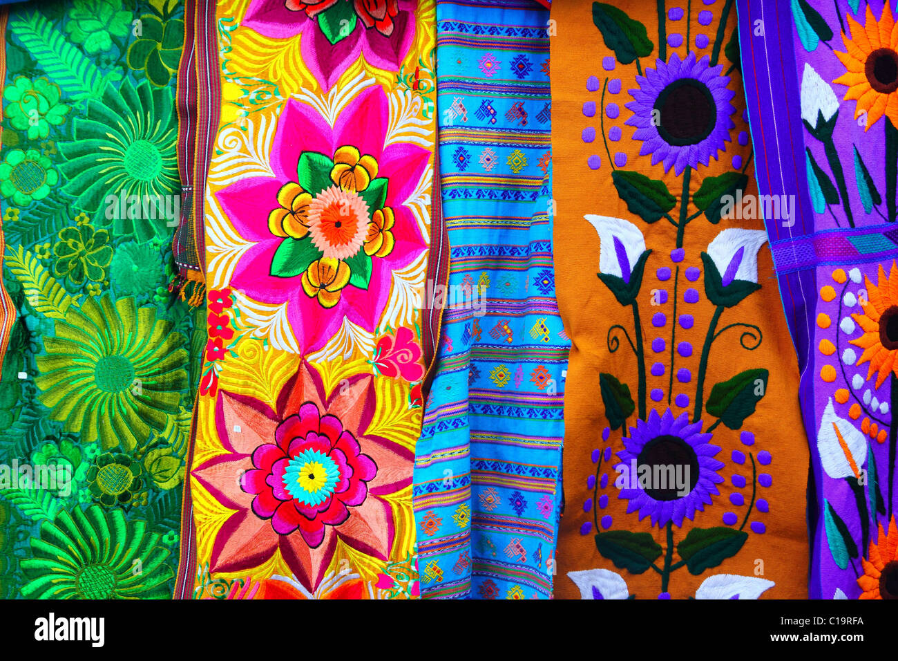 colorful Mexican serape fabric handcraft - Stock Image
