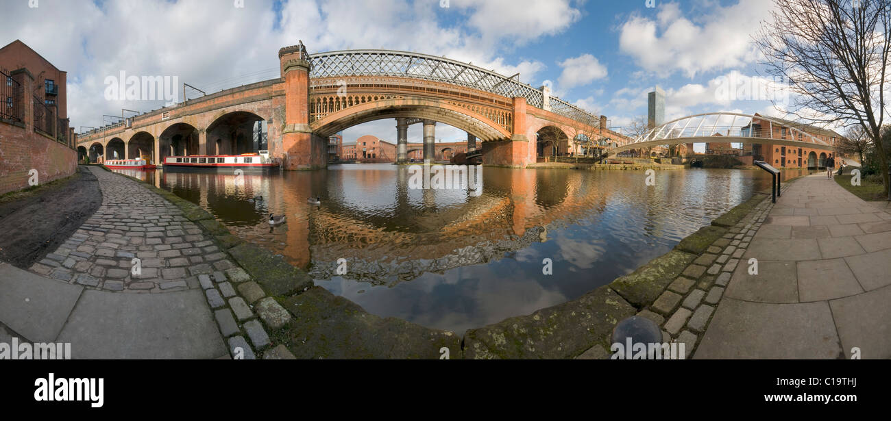 Panorama Victorian railway viaducts and bridges in the Castlefield basin Manchester Stock Photo