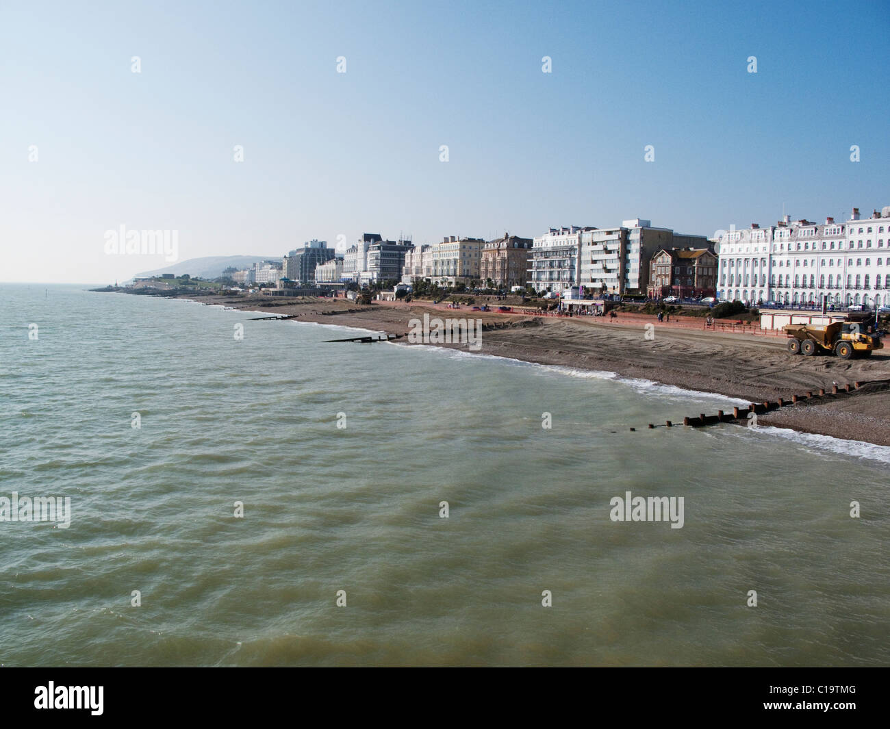 The seafront and beach renewal at Eastbourne in East Sussex in March 2011 - Stock Image