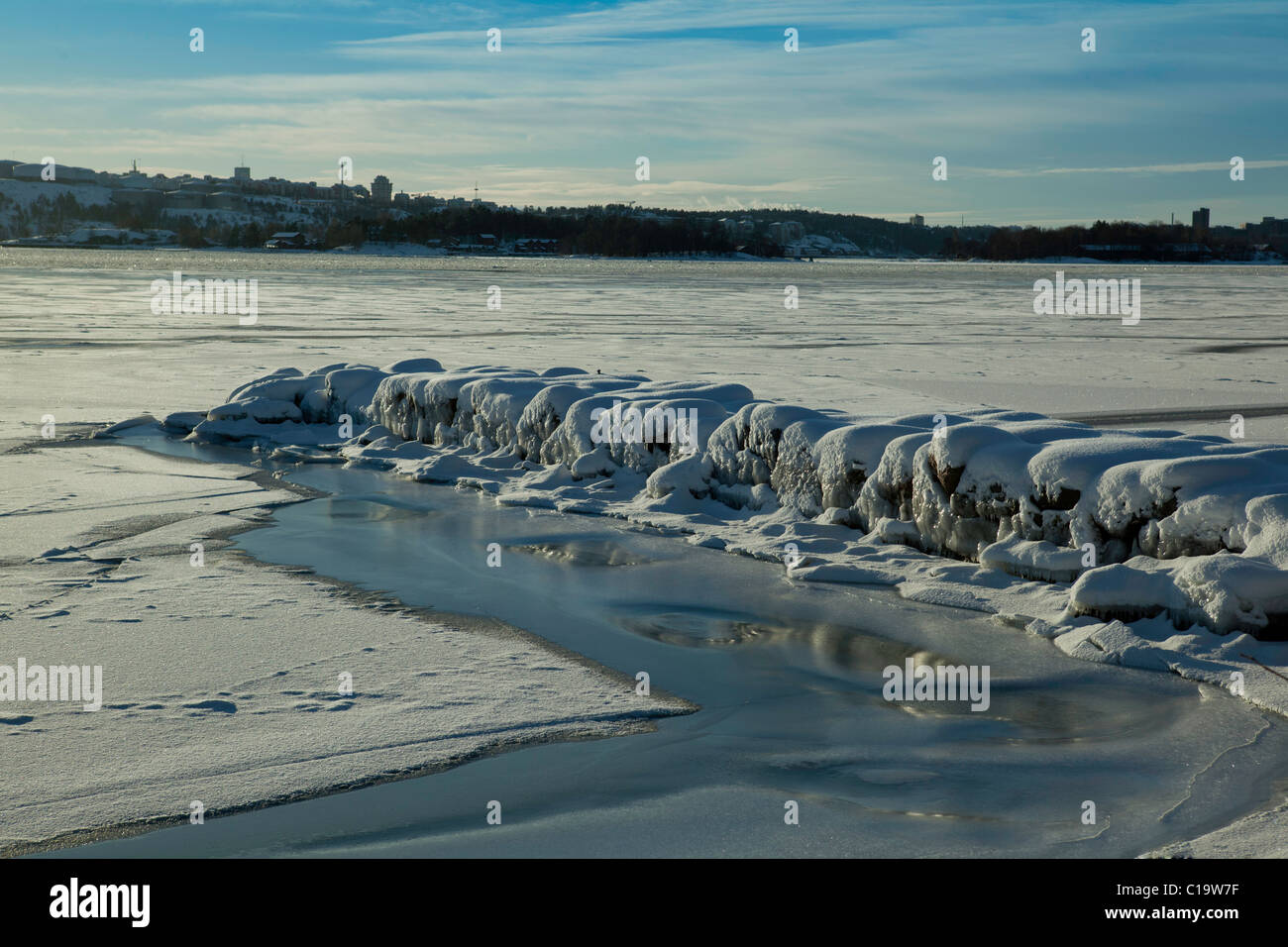 Entrance to Stockholm on a sunny day in winter, view from the island of Lidingö Stock Photo