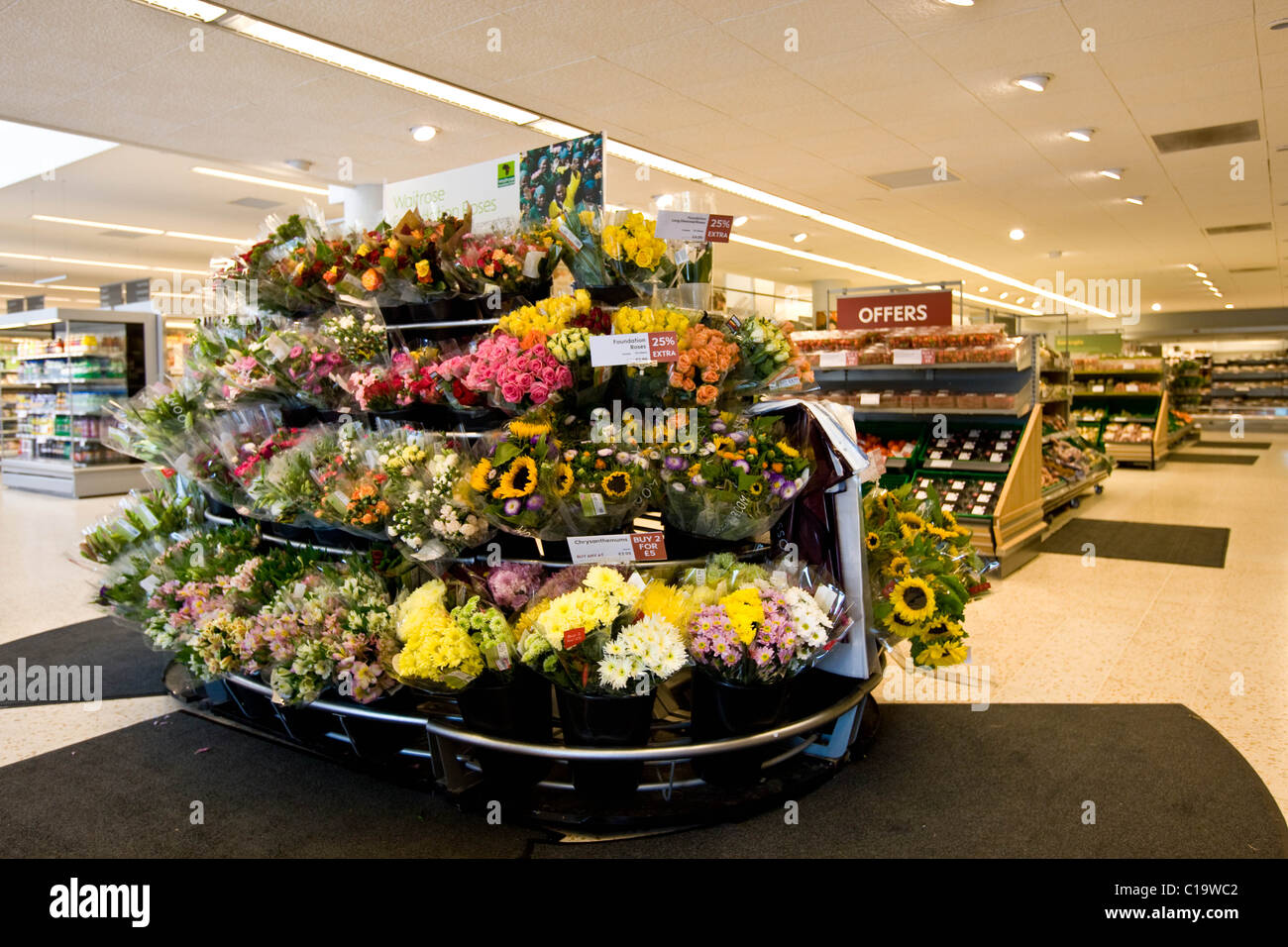 Display flowers stock photos display flowers stock images alamy cut flowers displayed inside a waitrose super market stock image izmirmasajfo