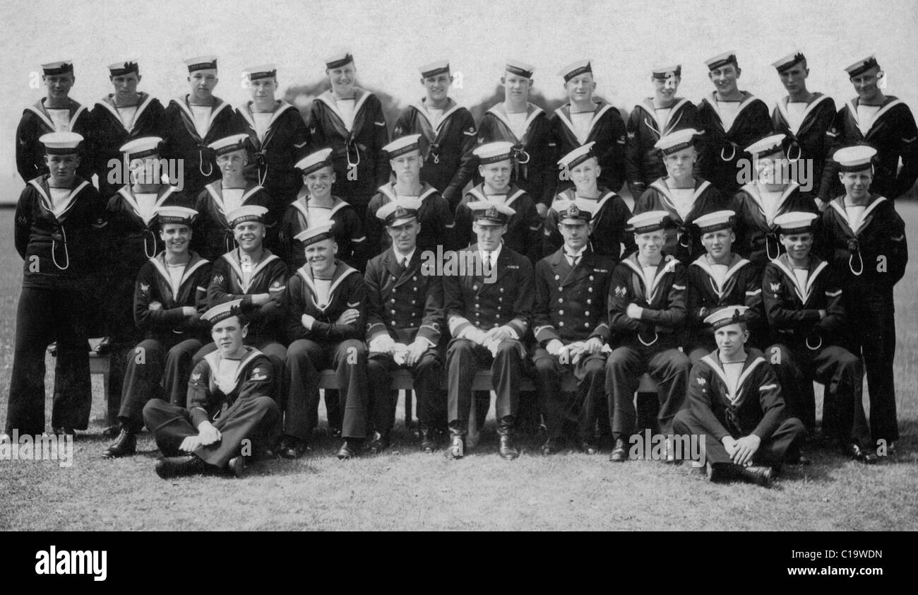Group photo boys officers HMS Ganges Suffolk England circa 1933-34 - Stock Image