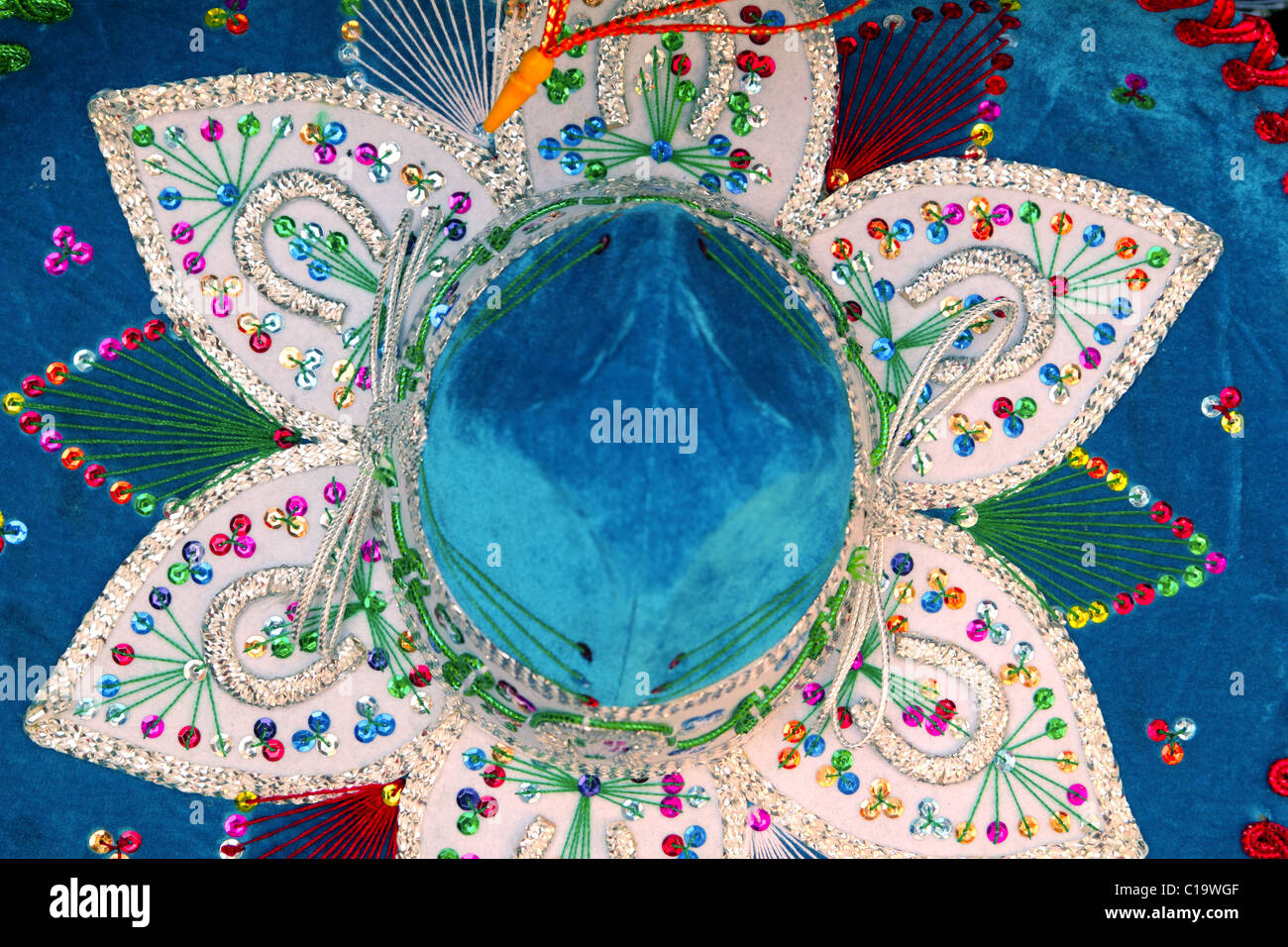 Charro Mexican mariachi blue hat macro detail top view - Stock Image