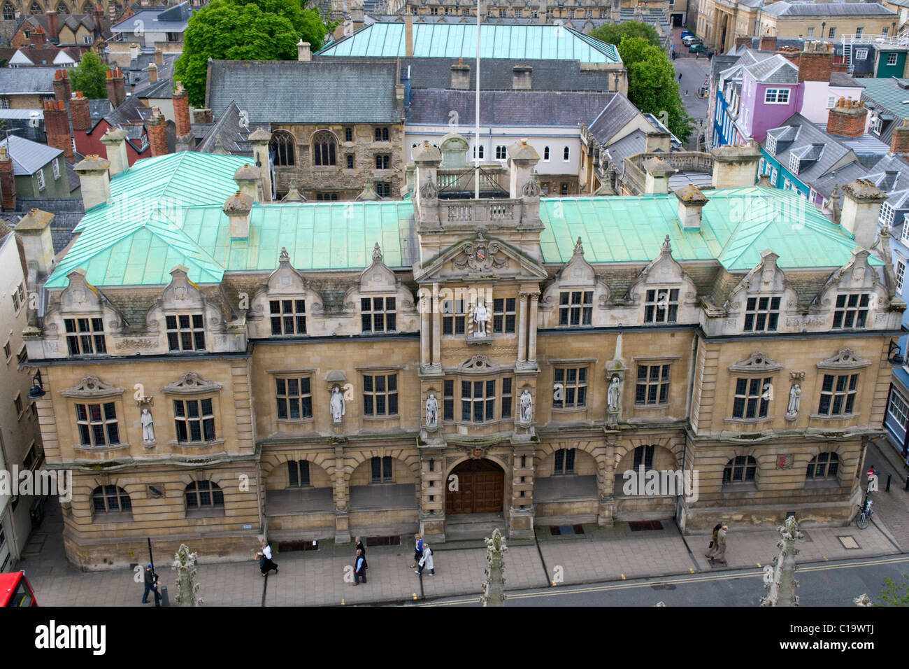 Aerial View of the Rhodes Building, Oriel College, Oxford - Stock Image