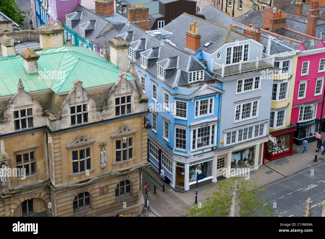 Aerial View of the Rhodes Building, Oriel College and Other Colourful Buildings in Oxford, England, UK - Stock Image