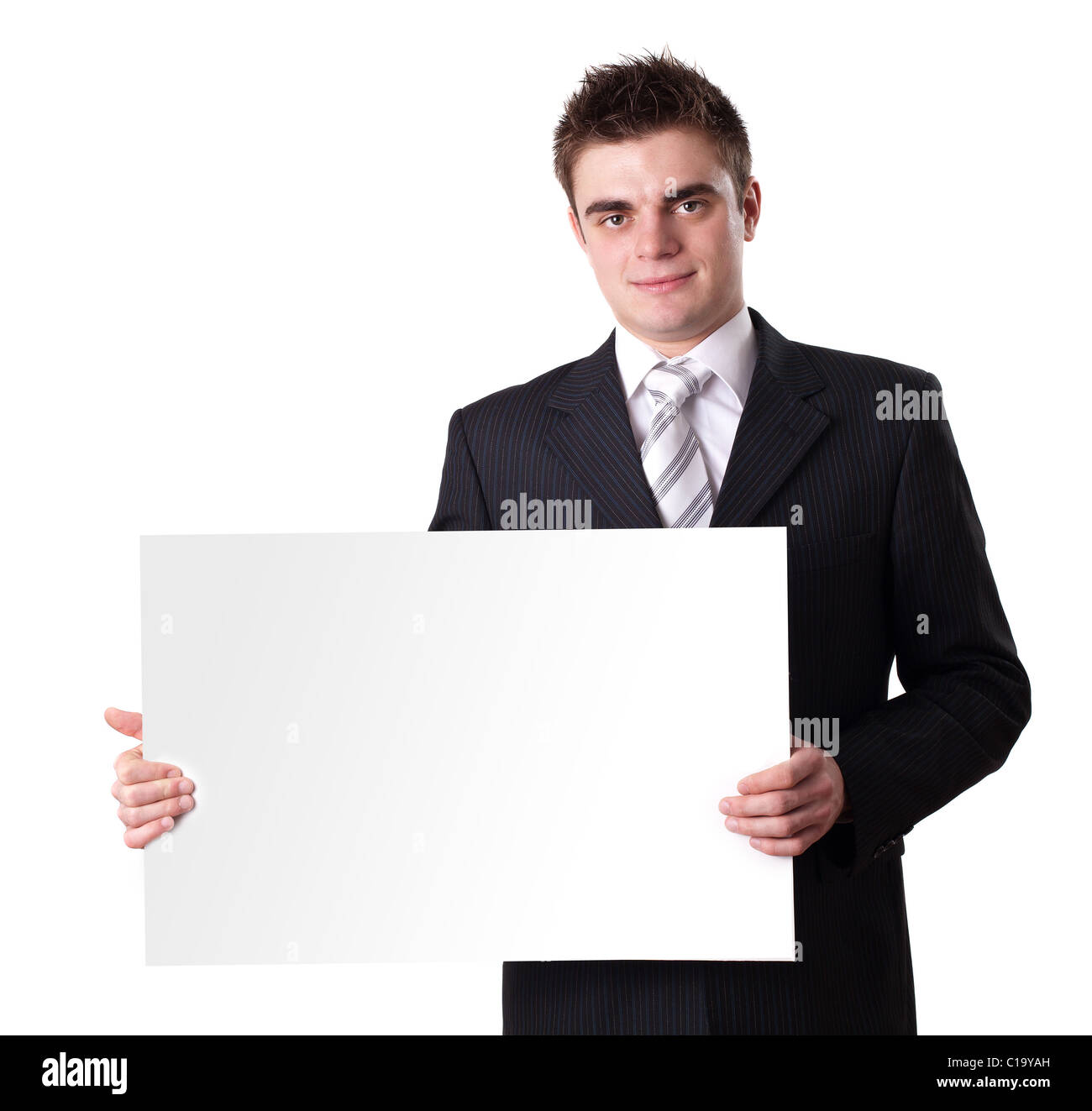 Businessman Holding Blank Sign - Stock Image