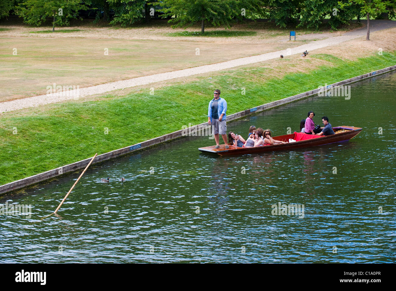 A punter loses his pole on The Backs in Cambridge - Stock Image