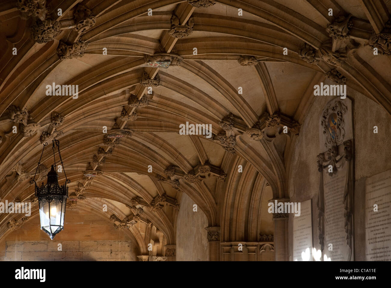 Rib-vault ceiling of entrance to the Great Hall of Christ Church College of the Oxford University, Oxfordshire, - Stock Image