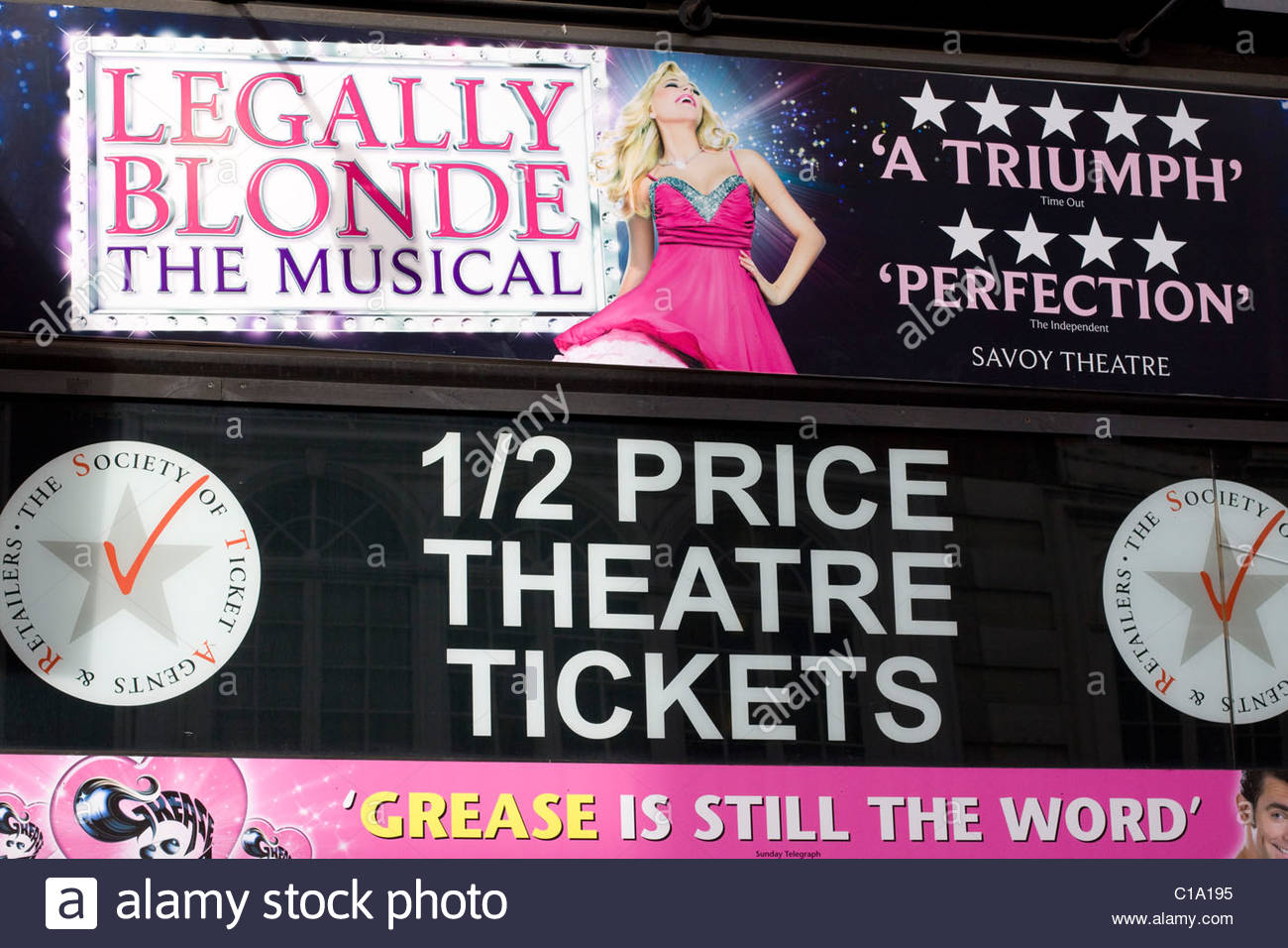Theater Billboard Advertising Legally Blonde The Musical - Stock Image