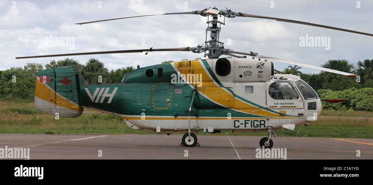 Kamov helicopter Russian manufacturer 32 big rotor cargo counter rotating blades - Stock Image