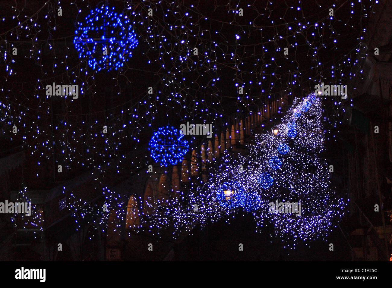 Christmas lights at Rìalto Bridge - Stock Image